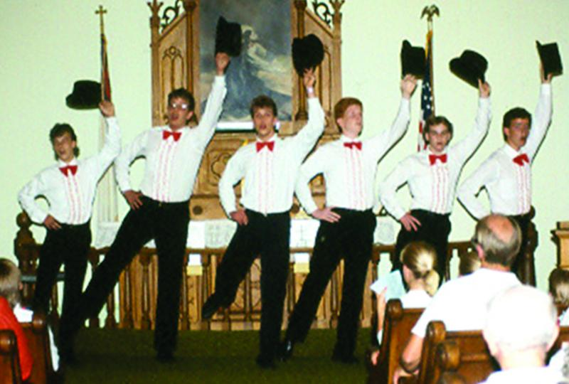 Boys dance in concert-Sturgeon Bay, WI - summer 1987