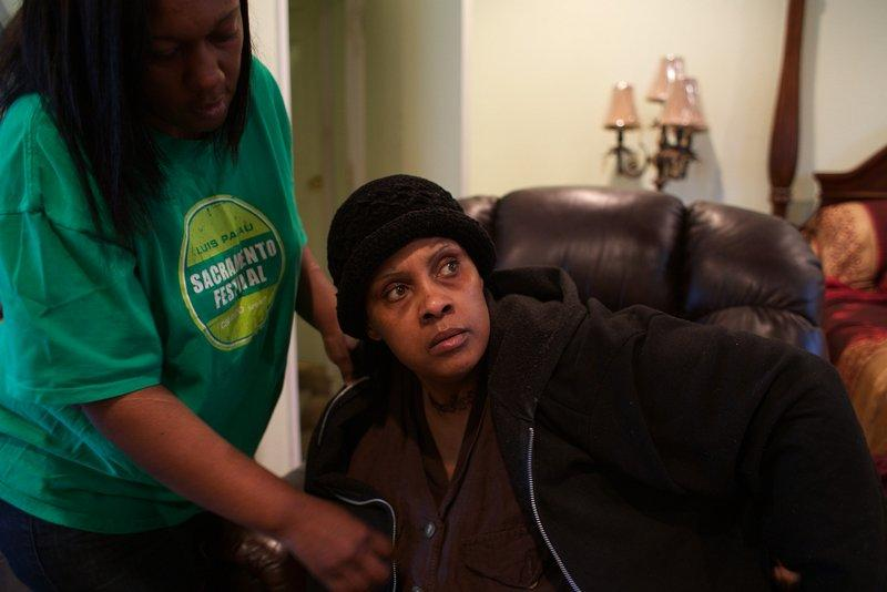 Loretta jackson cares for her sister Shirlene, who suffered a stroke.
