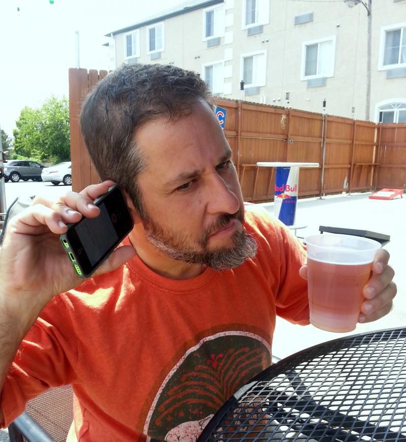 Dan Libman checks his audio at Fatty's, DeKalb