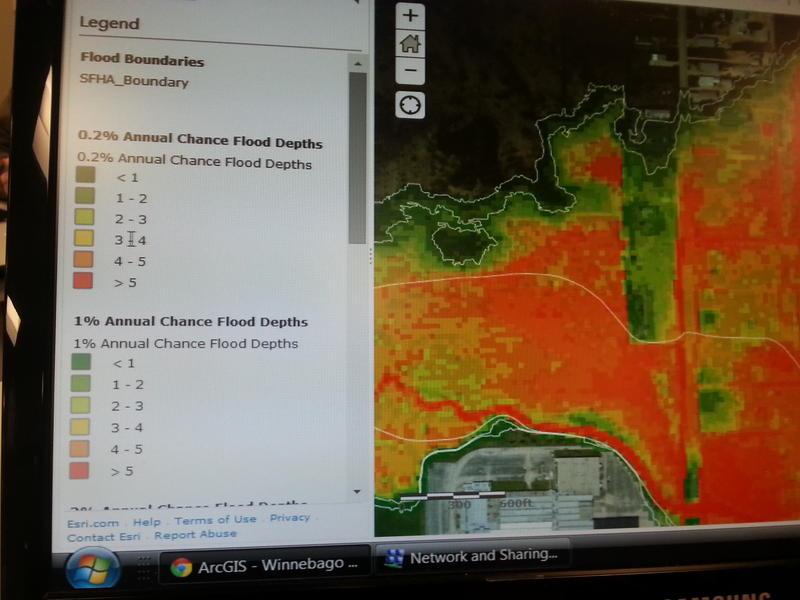Illinoisfloodmaps.org showing various depths of flooding
