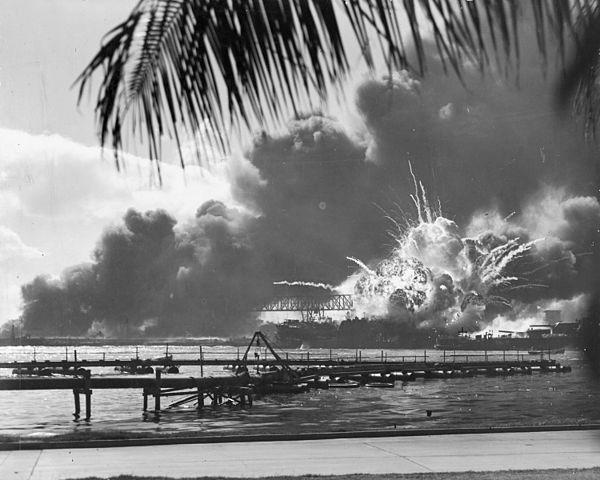 The USS Shaw exploding, Pearl Harbor, Hawaii, December 7, 1941
