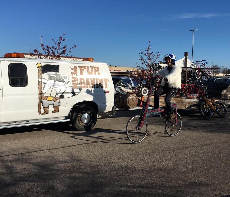 """Fur Bandit Bill"" on his custom tall bike"