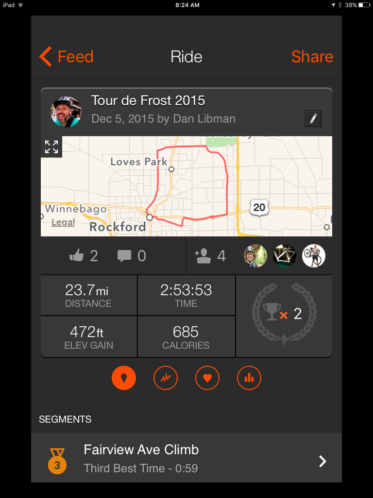"Route for the 2015 ""Tour de Frost"""