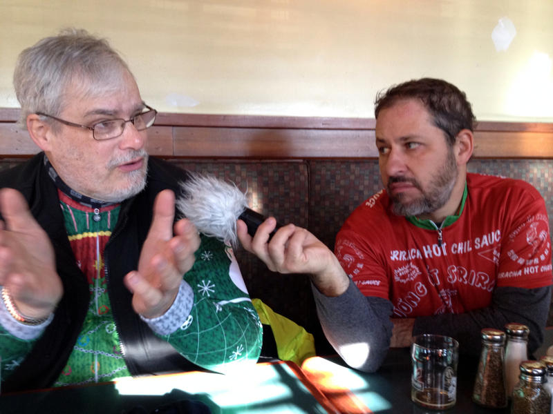 "Dan Libman even ""furs up"" his mic to interview rider Barry Sanders."