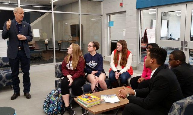 Gov. Rauner talks to students at Guilford High School