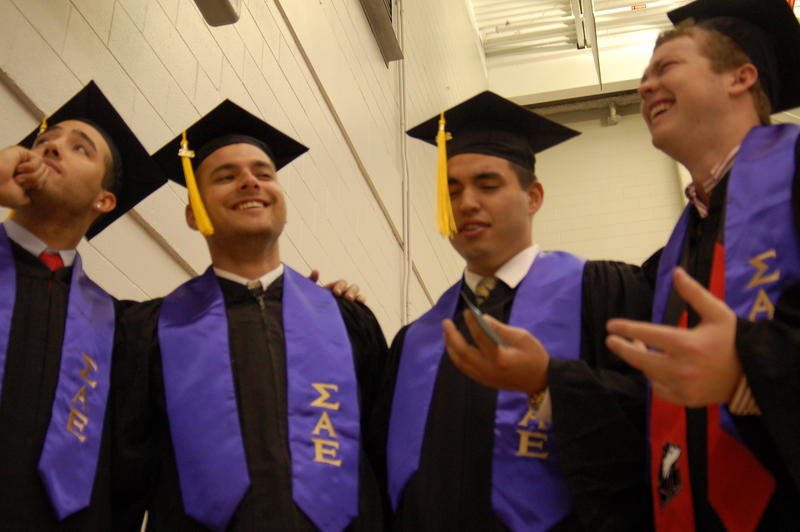 Left to right: Jacob Cinfio, Justin Johnson, Sergio Vazquez and Nick Huggins -- all brothers of Sigma Alpha Epsilon -- enjoy each others' company before heading upstairs for the NIU College of Liberal Arts and Sciences undergraduate commencement ceremony.