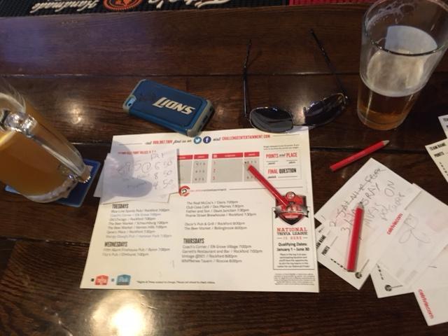 Bar Trivia sheet