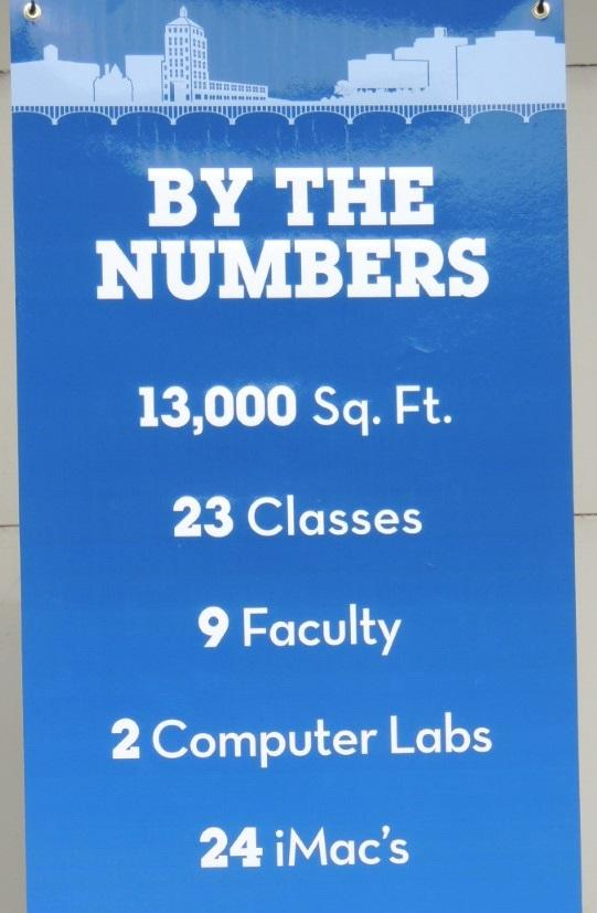 This banner tells the story of the new RVC Downtown campus located on the second floor of the Rockford Register Star News Tower,