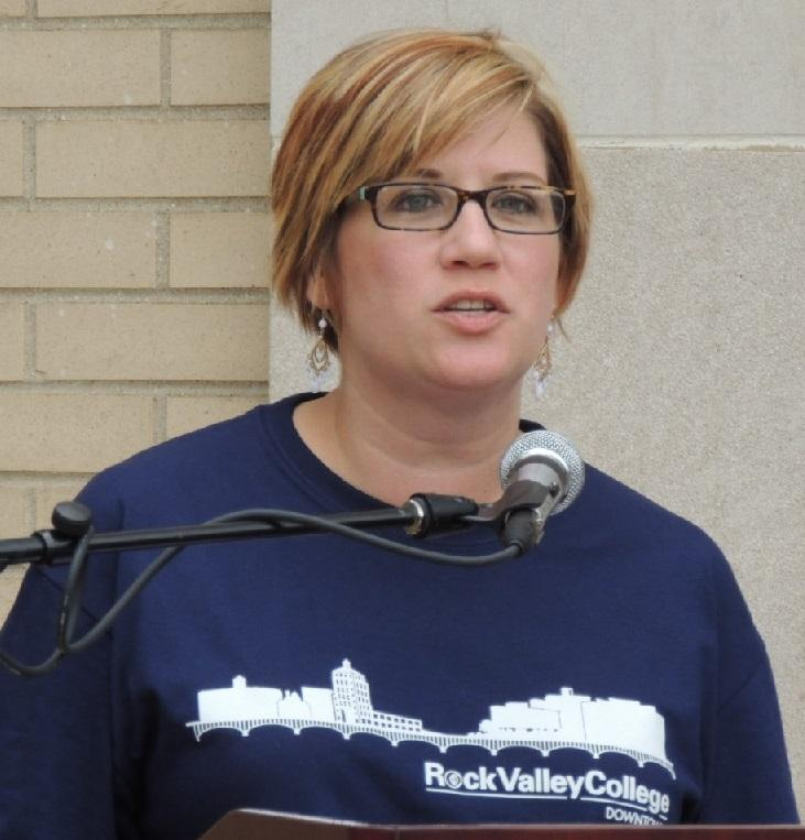 Amanda Smith, RVC Dean  of Transitional Opportunities and Education, sports a sweatshirt with the RVC Downtown graphic.