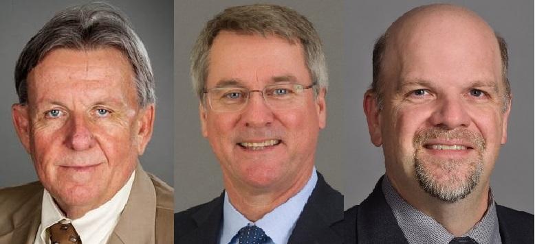 Rock Valley College president finalists are, from left, Dr. Douglas J. Jensen, Dr. Joseph E. Collins, and Dr. Trevor A. Kubatzke