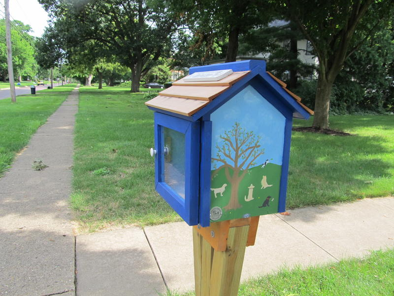 This Little Free Library in Princeton commemorates a group of friends who walk their dogs together.