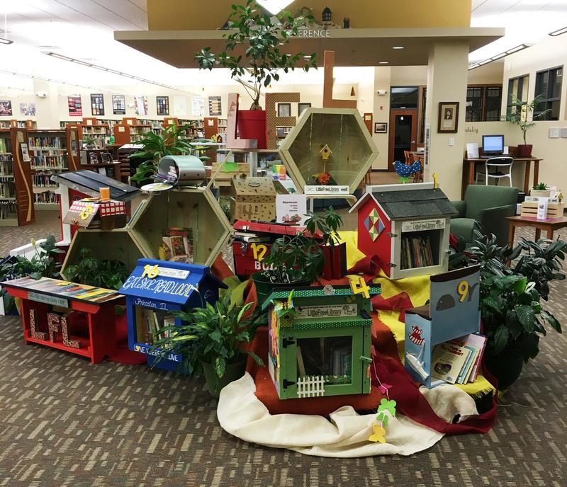 Little Free Libraries gathered for auction at the Princeton Public Library.