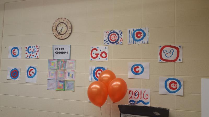Festive game day decorations were posted at Oak Crest Retirement Center