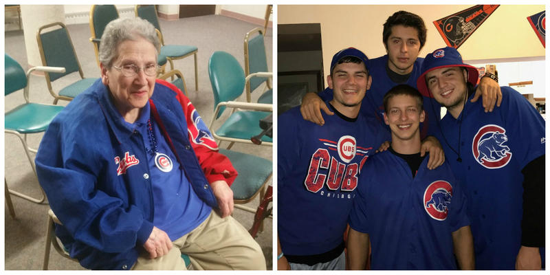 Oak Crest resident Mary Brown, left, in her Cubs apparel and younger fans -- clockwise from top, Atakan Buyan, Valdet Seferi, Andrew Sparapani and Ermir Ramadani -- share enthusiasm for their World Series team.