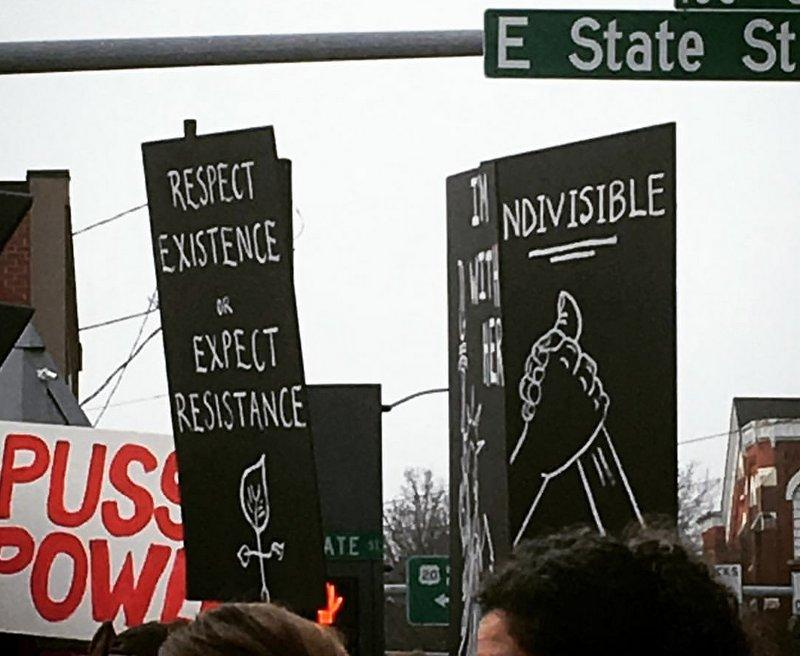 Signs at the Women's March in Rockford