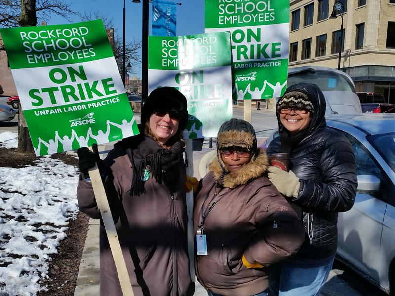 Striking workers outside of Rockford Public Schools Administration building