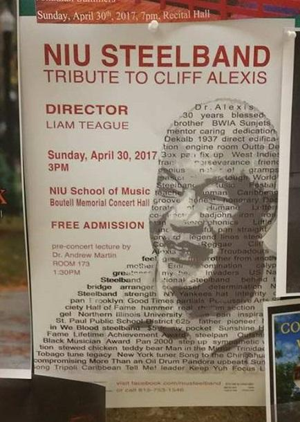 The poster for the Cliff Alexis tribute concert.