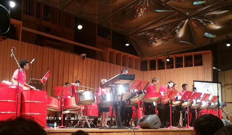 The NIU Steelband performs a tribute concert to retiring co-director Cliff Alexis.