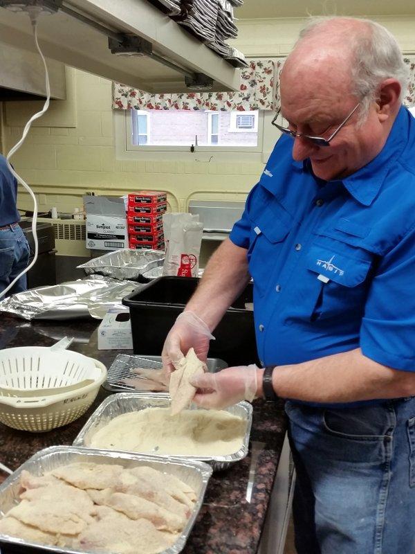 Chuck Glatczak shows off his perch breading technique