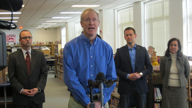 Gov. Rauner in Rockford in February 2017 touting his education funding reform commission.