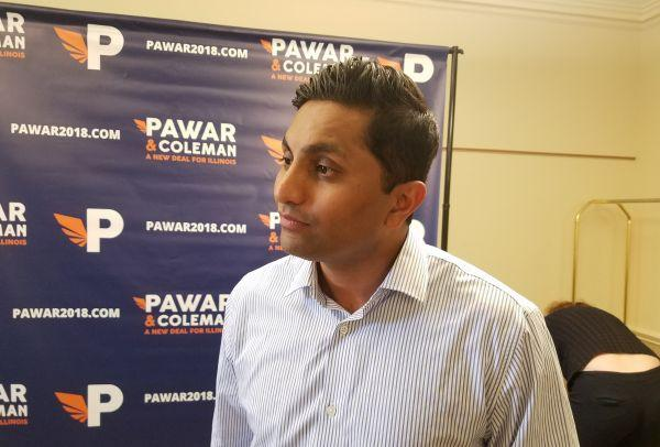 Chicago Alderman and Democratic gubernatorial candidate Ameya Pawar, talking to reporters at a campaign stop at the University of Illinois' Illini Union in Urbana.