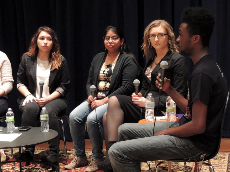 Northern Star Editor-in-Chief Angela Pagan, Laura Vivaldo Cholula, Jessie Schlacks, and Amauri Reeves participate in a moderated discussion at WNIJ