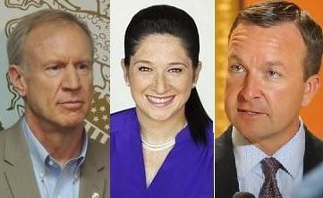 Gov. Bruce Rauner, left, Comptroller Susana Mendoza, and State Sen. Andy Manar