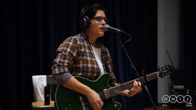 Liv Lombardi performs in WNIJ's Studio A