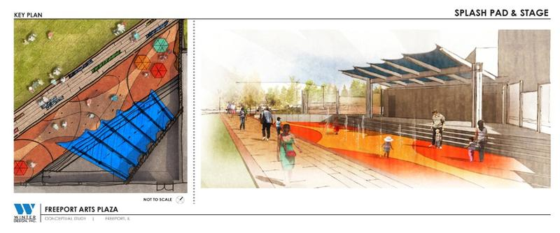 The proposed stage area at the Freeport civic arts plaza would be a venue for a variety of activities.