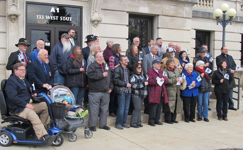 Attendees of the Illinois Bicentennial commencement event gather Monday at the DeKalb County Courthouse.