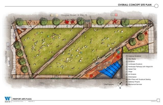 The site plan for the Freeport civic arts plaza includes a stage, recreational area, and walkways along which artworks can be placed.