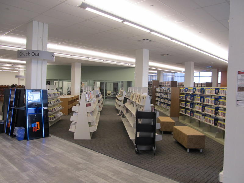 The main floor stacks  in the Interim Library