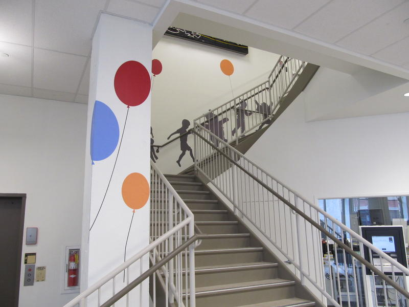 Children's and other activities are upstairs in the Interim Library