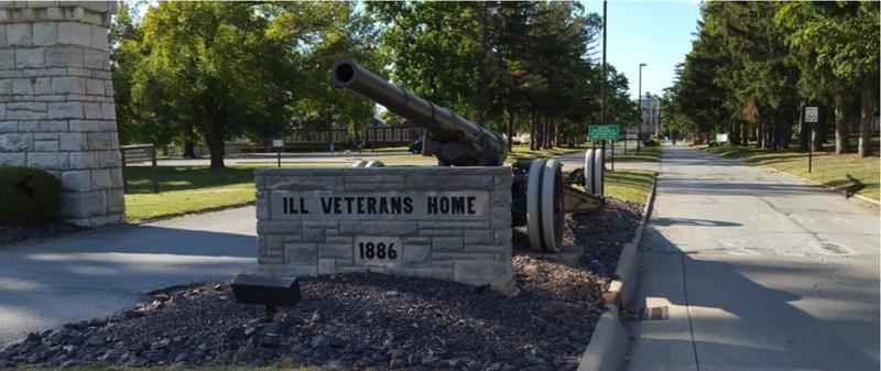 The entrance to the Illinois Veterans Home in Quincy, seat of Adams County along the Mississippi River north of Hannibal, Mo.