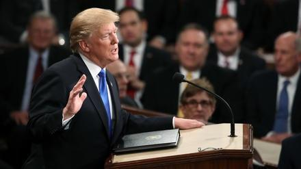 President Donald Trump delivers the State of the Union address in the House chamber of the Capitol on Tuesday.