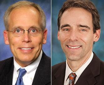 The Rockford area's two state senators: Republican Dave Syverson, left, and Democrat Steve Stadelman