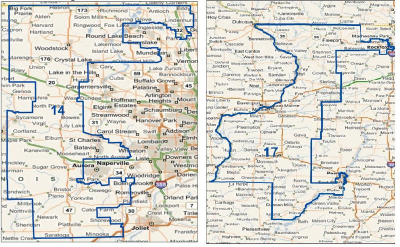 The 14th Illinois Congressional District, left, and the 17th Illinois Congressional District