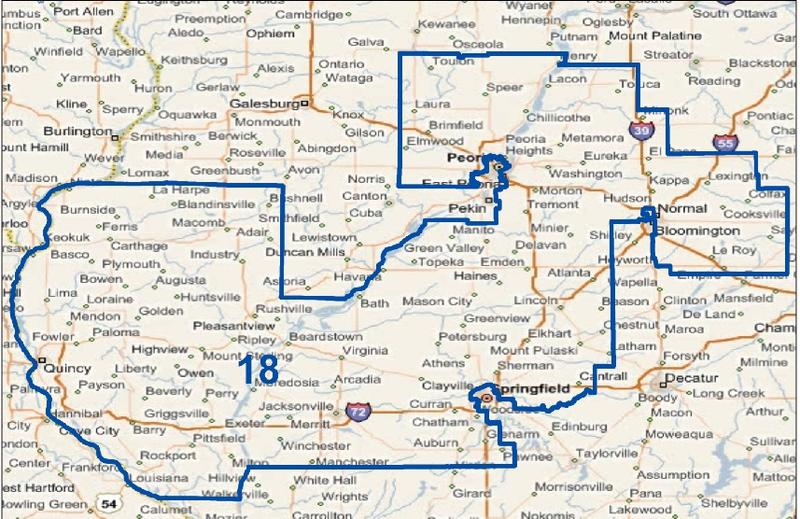 The 18th Congressional District  covers central and western Illinois, including all of Jacksonville and Quincy and parts of Bloomington, Peoria, and Springfield.