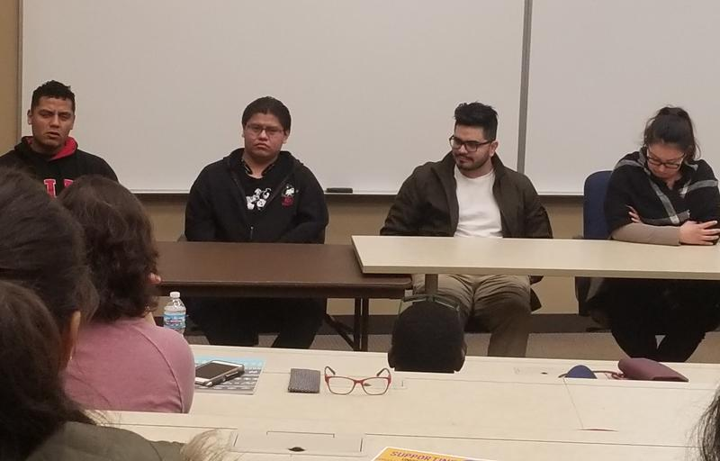 Students representing Northern Illinois University's Dream Action NIU group share their stories at an undocumented support summit in February at McHenry County College.