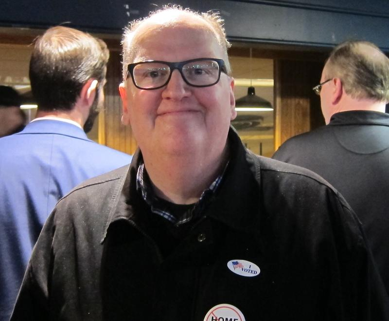 Home rule opponent Brian Leggero beams as it became clear that the referendum was going down