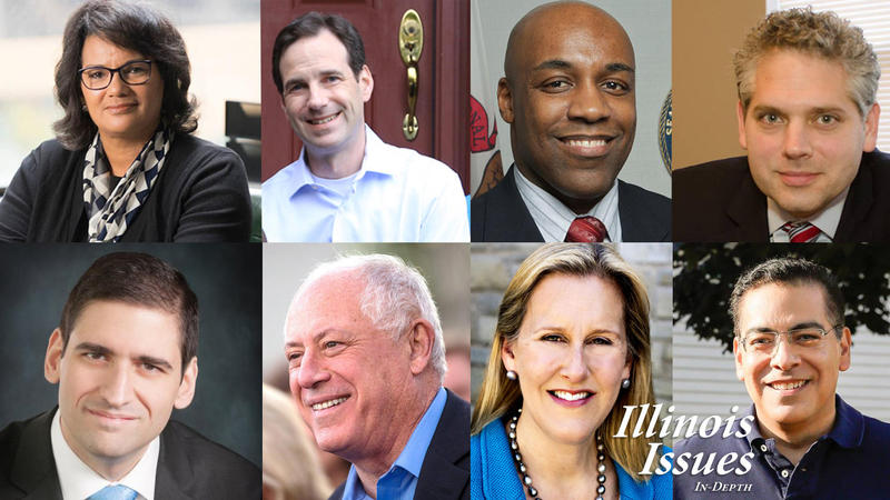 Democratic candidates for Attorney General. From left to right: Sharon Fairley, state Rep. Scott Drury, state Sen. Kwame Raoul, Aaron Goldstein, Renato Mariotti, former Gov. Pat Quinn, Nancy Rotering and Jessie Ruiz