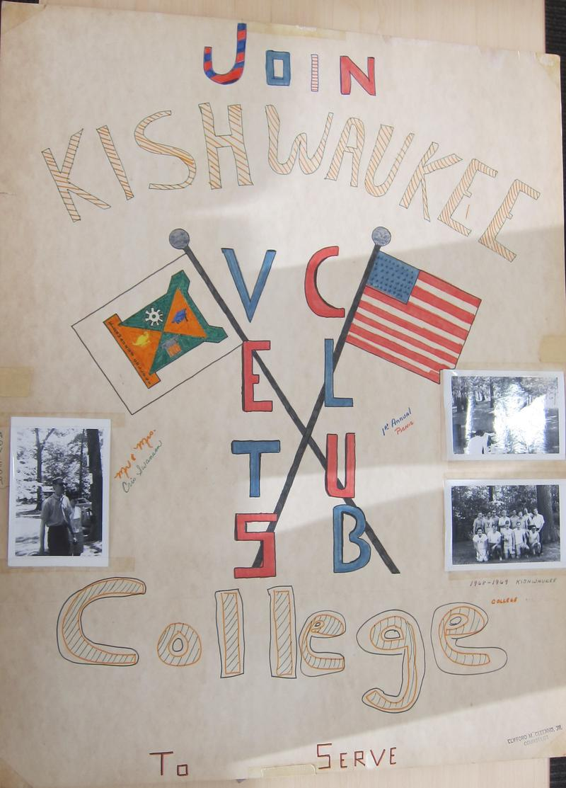 This poster was used to recruit Kishwaukee College students to the Vietnam veterans club.