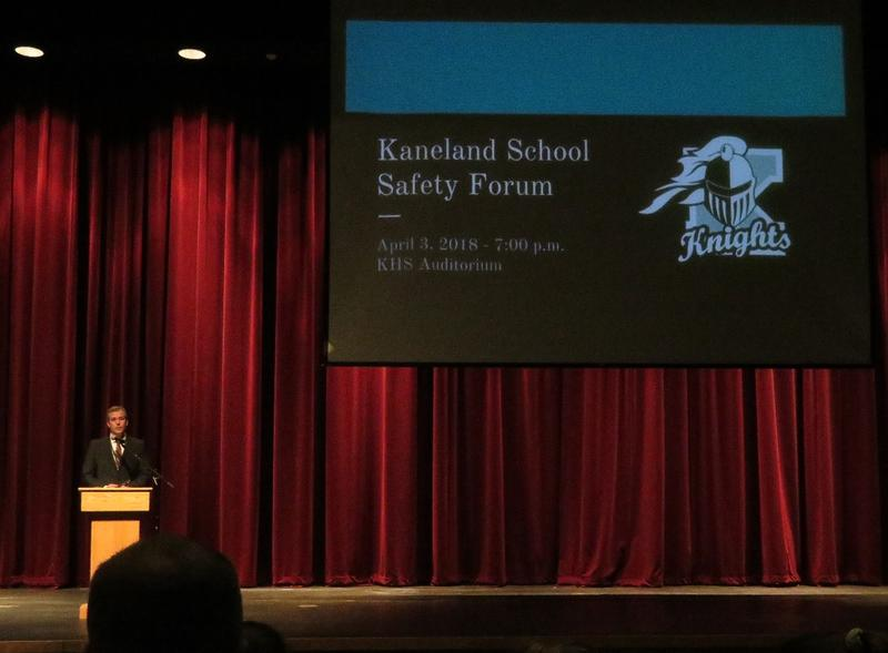 Kaneland Schools Supt. Todd Leden opens a community school safety forum this month at Kaneland High School.