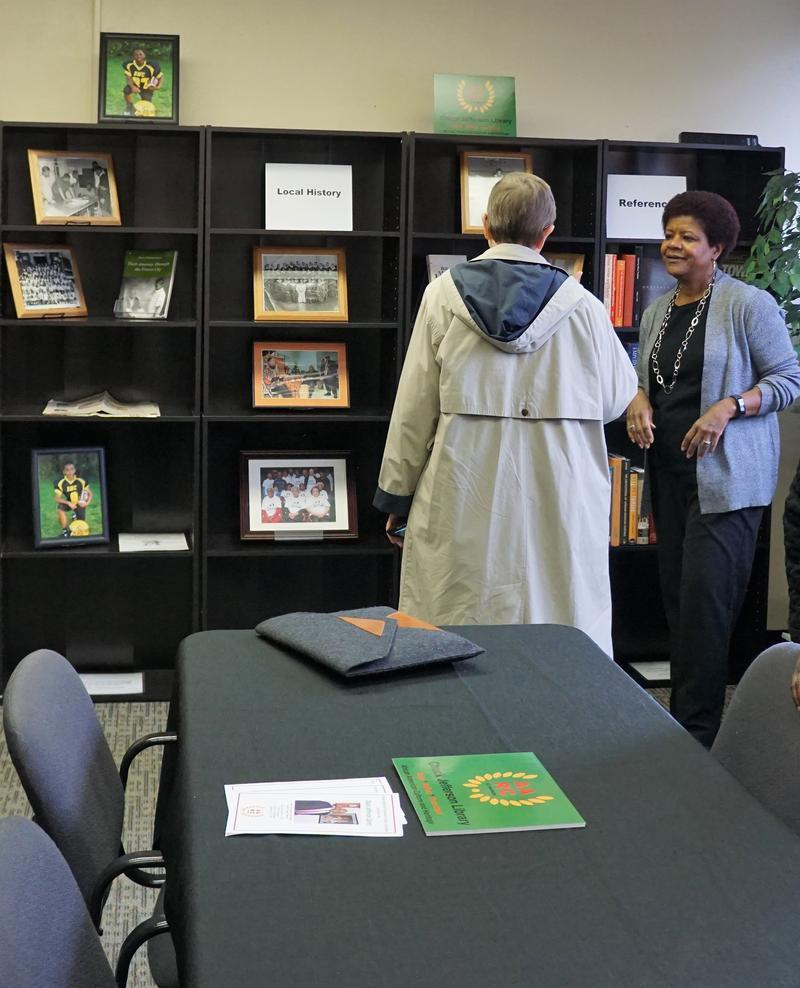 AARP spokesperson Terri Worman and event organizer Fayrene Muhammad in the Chuck Jefferson Library