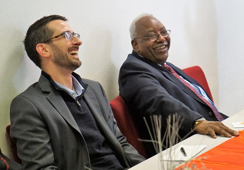 Rockford Mayor Tom McNamara and Chuck Jefferson share a laugh.