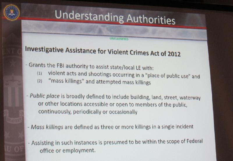 This slide from FBI Special Agent G. B. Jone explains how the Investigative Assistance for Violent Crimes Act in 2012 functions.