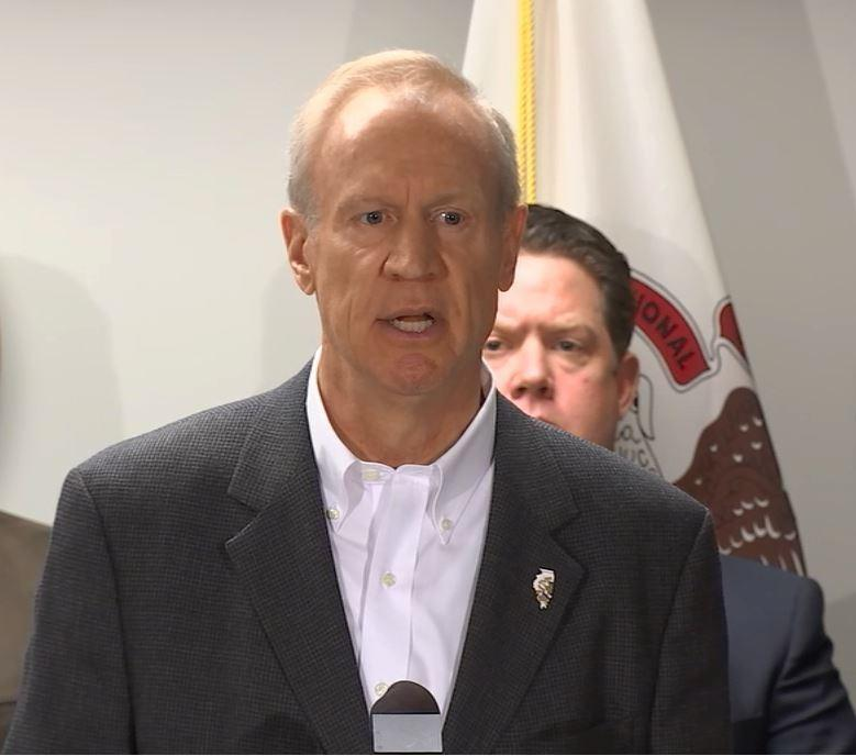 Gov. Rauner addresses reporters Monday about his amendatory veto proposals at an Illinois State Police forensic laboratory in Chicago.