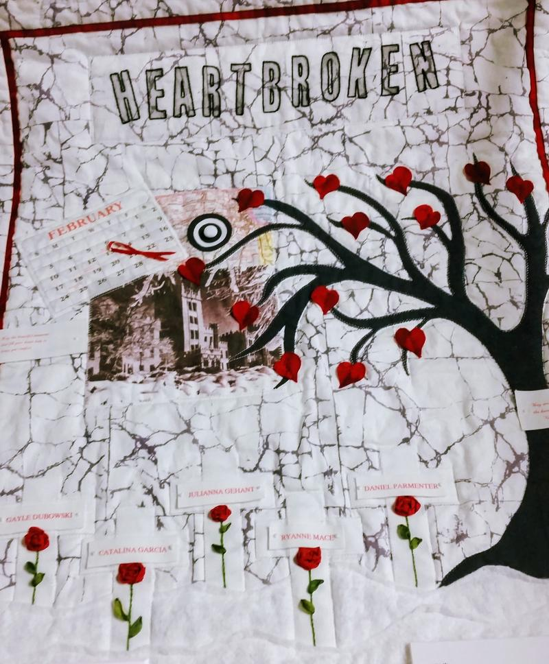 "This quilt was made by a concerned woman who ""wanted to do something"" to honor the victims of the NIU shooting."