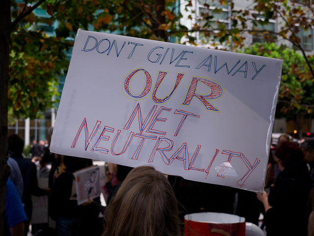 Sign from a Protect Net Neutrality rally in San Francisco, 2017.