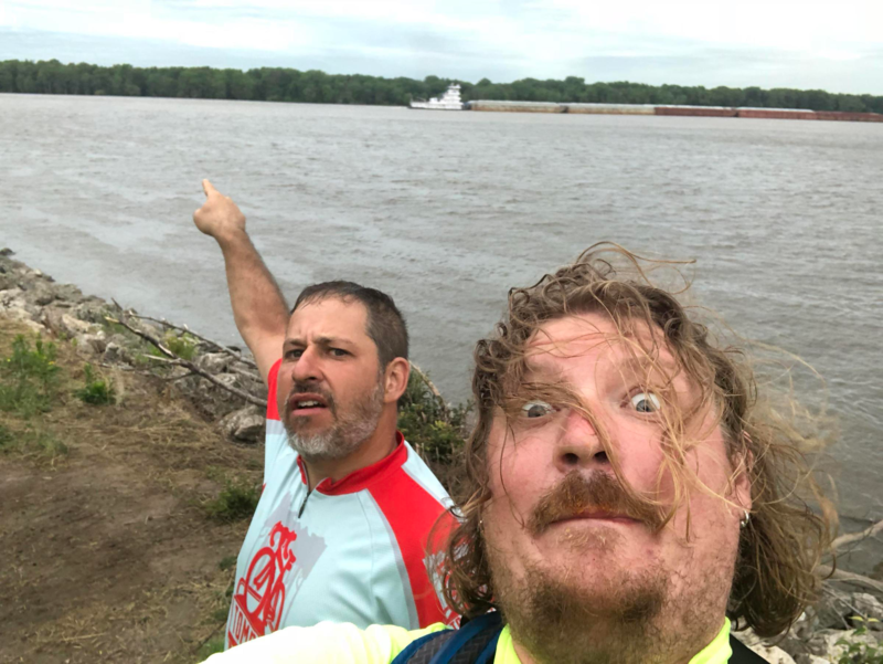 Dan Libman (L) and Carl Nelson at the Mississippi River